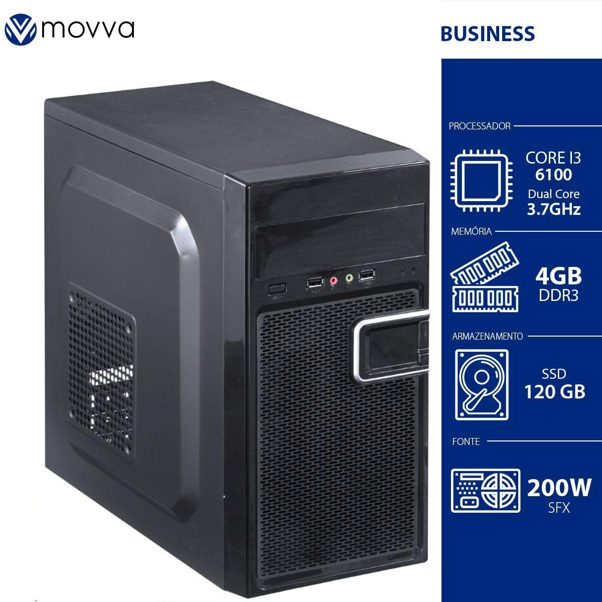 Computador Movva Hydro Intel i3 6100, 4GB, SSD 120GB, Fonte 200w Linux