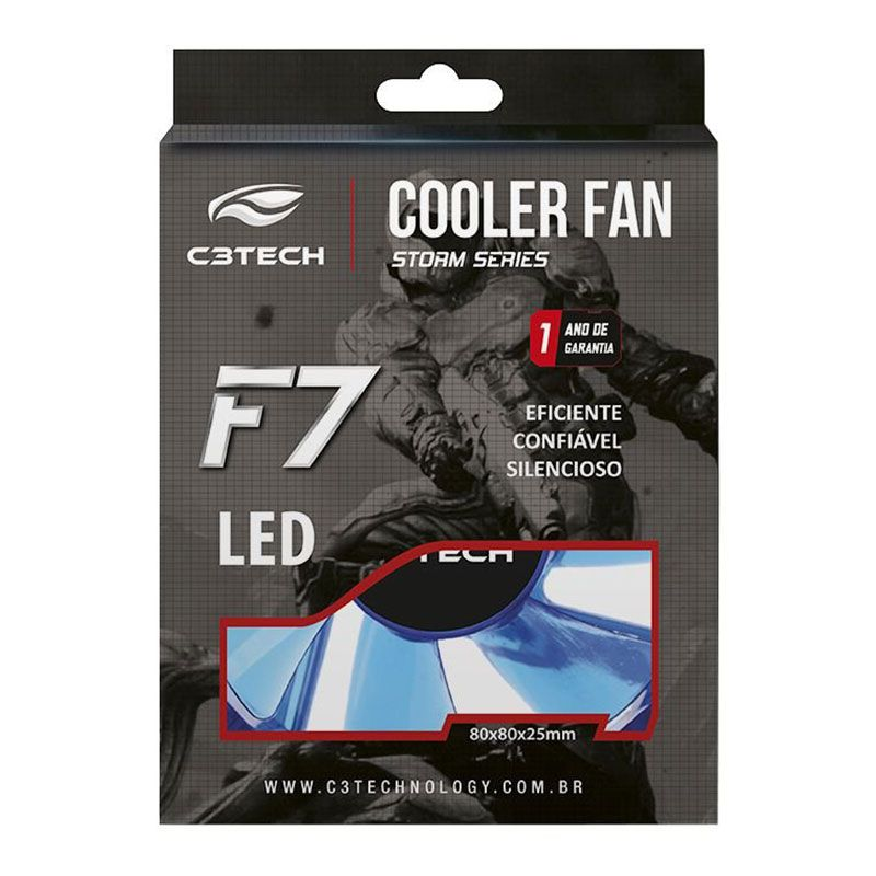Cooler Fan C3 Tech Storm 80mm 7 Pás Azul F7-L50BL