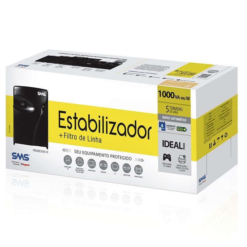Estabilizador SMS Progressive III 1000VA Bivolt/115V - Uap1000bi