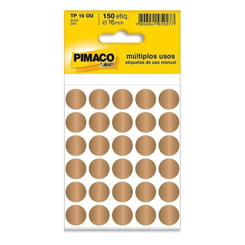 Etiqueta Adesiva Para Codificação Pimaco Com 150 Etiquetas TP-16 Ouro