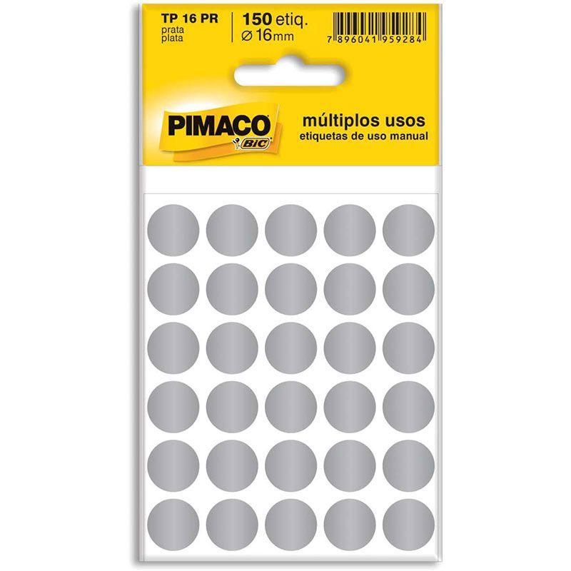 Etiqueta Adesiva Para Codificação Pimaco Com 150 Etiquetas TP-16 Prata