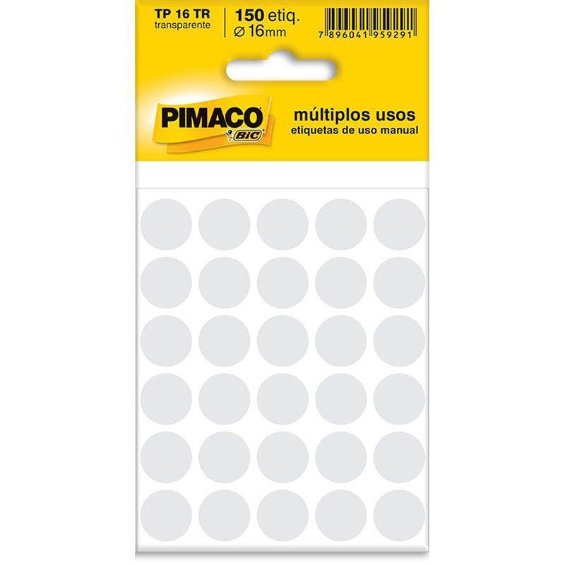Etiqueta Adesiva Para Codificação Pimaco Com 150 Etiquetas TP-16 Transparente