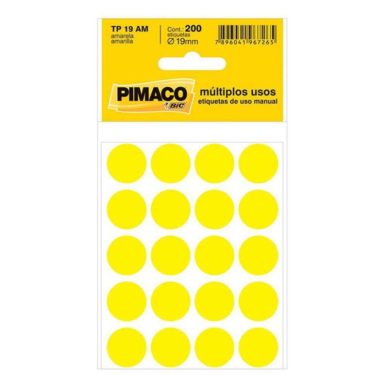 Etiqueta Adesiva Para Codificação Pimaco Com 200 Etiquetas TP-19 Amarela