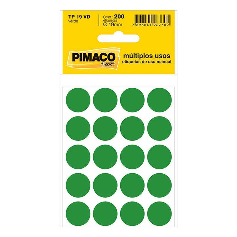 Etiqueta Adesiva Para Codificação Pimaco Com 200 Etiquetas TP-19 Verde