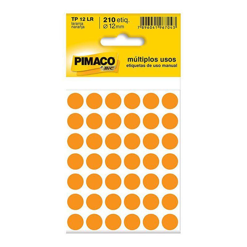 Etiqueta Adesiva Para Codificação Pimaco Com 210 Etiquetas TP-12 Laranja