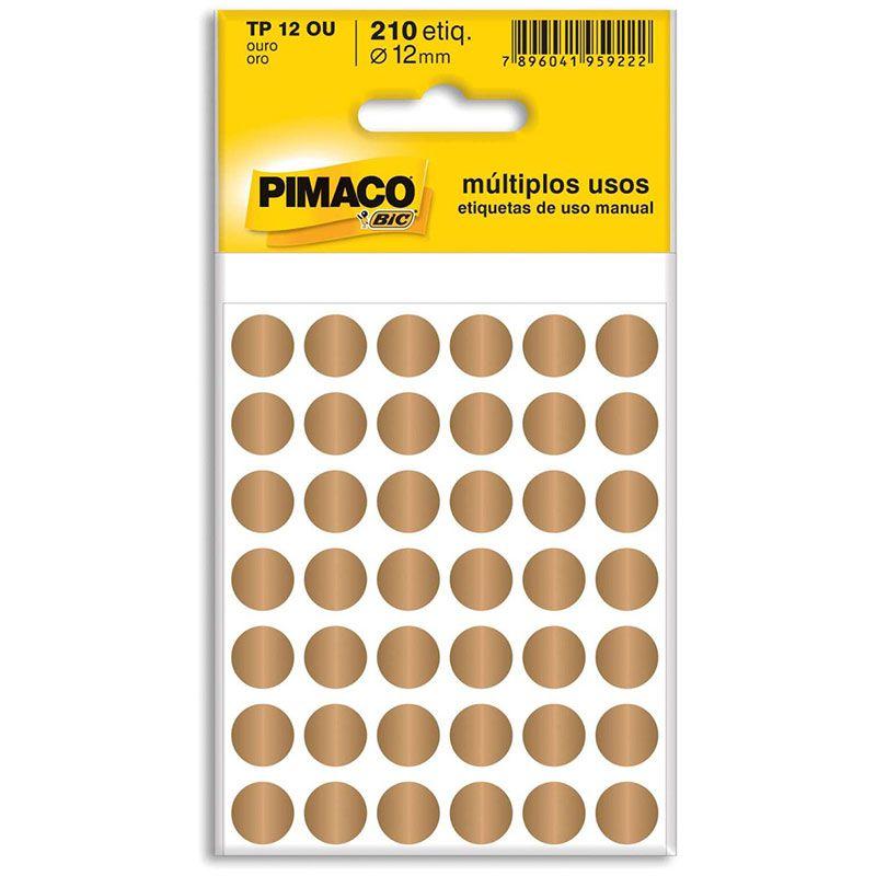 Etiqueta Adesiva Para Codificação Pimaco Com 210 Unidades TP-12 Ouro