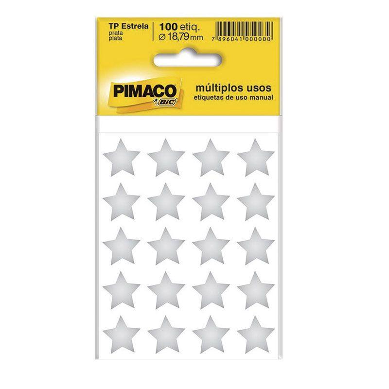 Etiqueta Adesiva TP-Estrela Pimaco Com 100 Etiquetas Prata