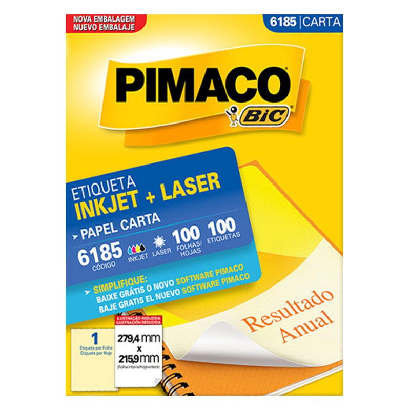 Etiqueta Inkjet Laser Pimaco Carta 100 Etiquetas 215,9x279,4 6185