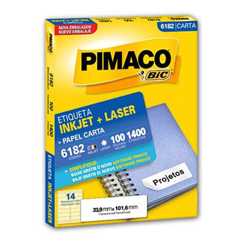 Etiqueta Inkjet Laser Pimaco Carta 1400 Etiquetas 33,9 x 101,6 6182