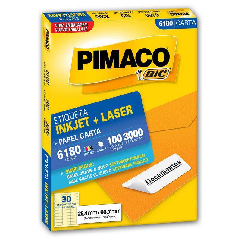 Etiqueta Inkjet Laser Pimaco Carta 25,4x66,7 3000 Etiquetas 6180