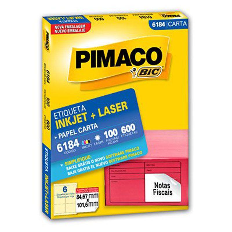 Etiqueta Inkjet Laser Pimaco Carta 600 Etiquetas 84,7x101,6 6184