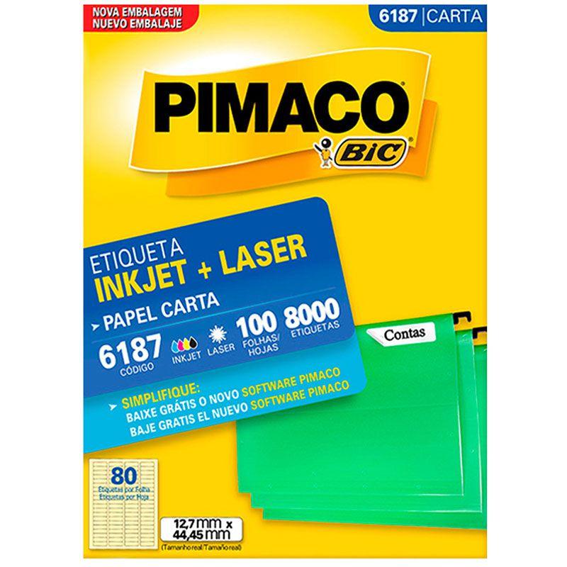 Etiqueta Inkjet Laser Pimaco Carta 8000 Etiquetas 12,7x44,4 6187