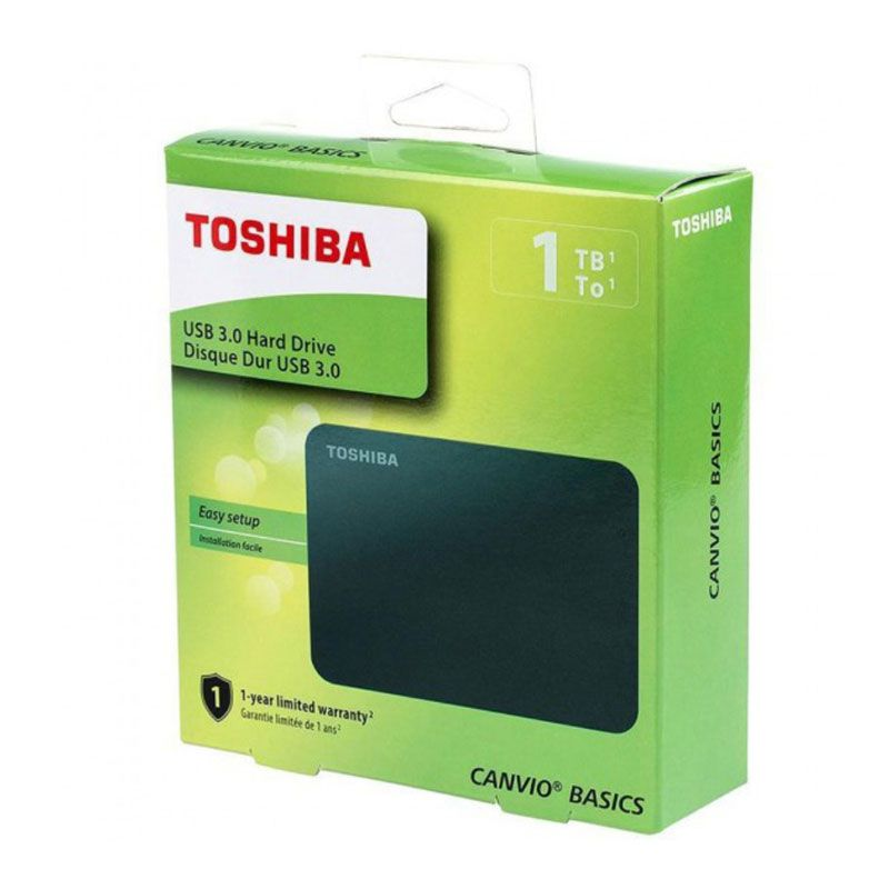 HD Externo Toshiba 1TB Canvio Basics USB 3.0 Preto HDTB410XK3AA