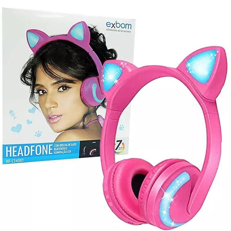 Headphone Bluetooth Cat Ear Exbom HF-C240BT Rosa