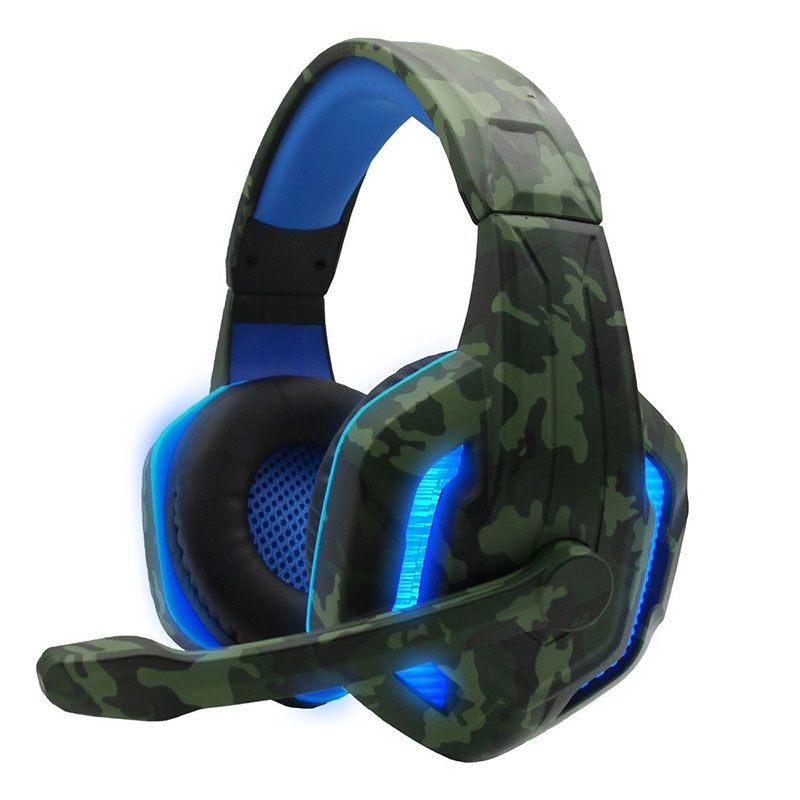 Headset Gamer Camuflado Xp-4 Selva Tecdrive Pc Xbox One Ps4 Azul e Verde