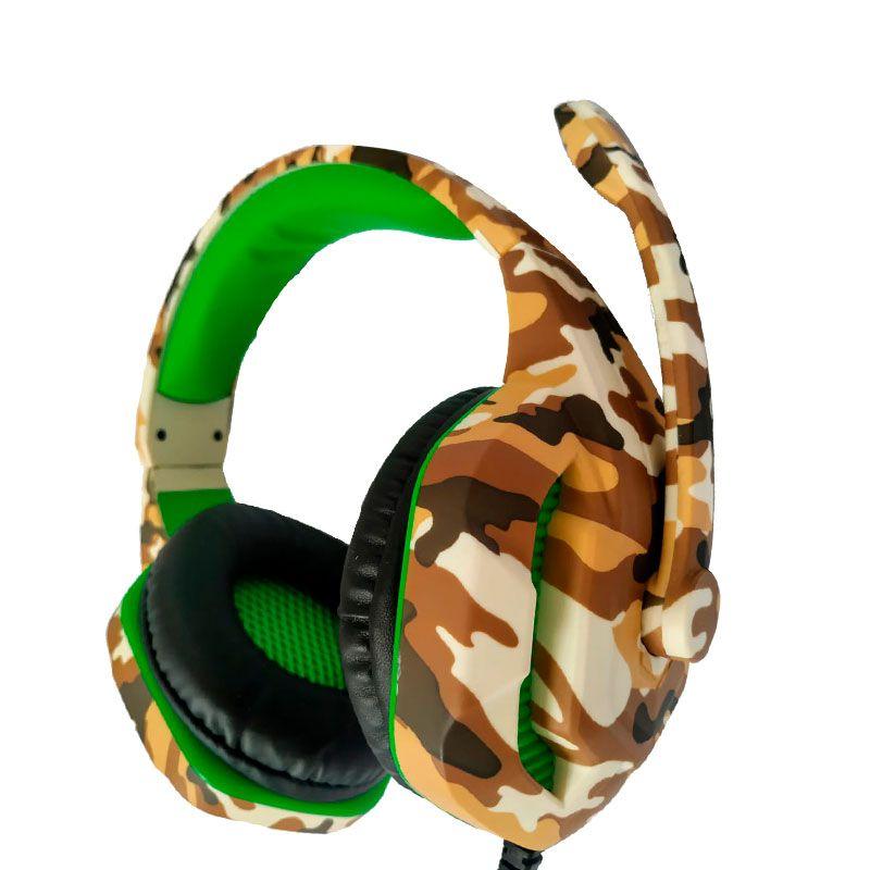 Headset Gamer Camuflado Xp-4 Selva Tecdrive Pc Xbox One Ps4 Verde e Bege