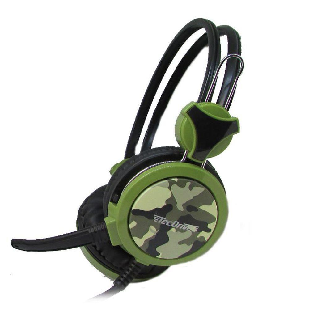Headset Gamer TecDrive F-5 Eco da Guerra Camuflado Verde