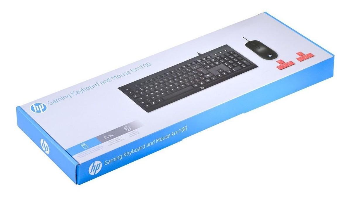 Kit Teclado e Mouse Gamer HP KM100 Preto