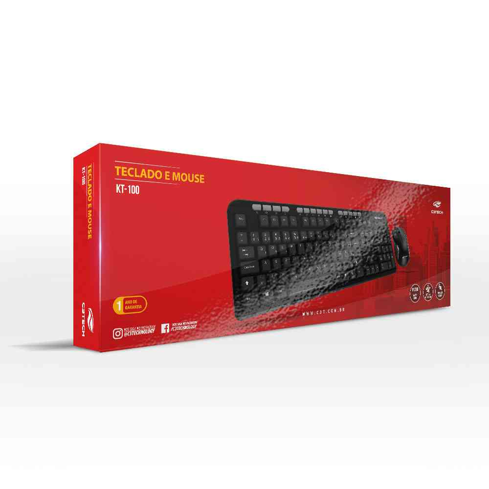 Kit Teclado e Mouse USB C3 Tech KT-100BK ABNT2 Preto
