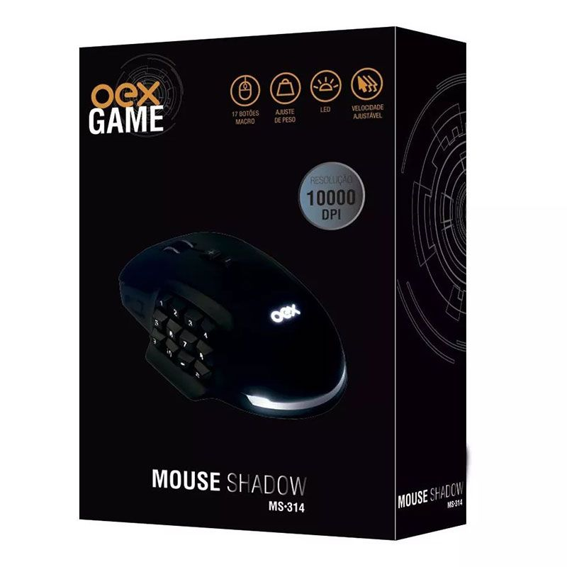 Mouse Gamer OEX Shadow MS-314 USB 10.000 DPI