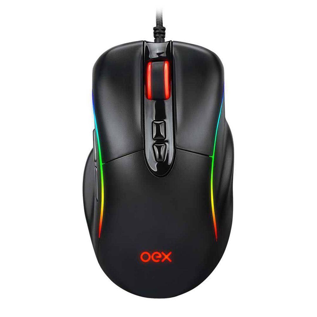 Mouse Gamer OEX Titan MS-318 RGB 7 Botões 14400 DPI