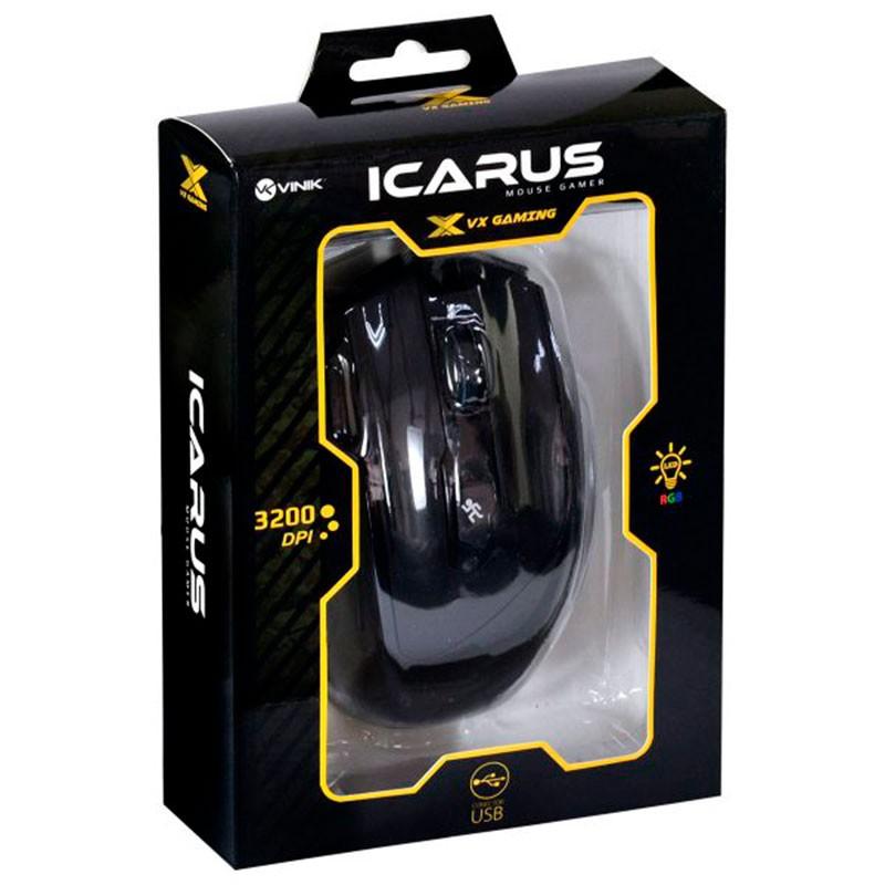 Mouse Gamer Vx Gaming Icarus 3200 DPI Vinik Preto