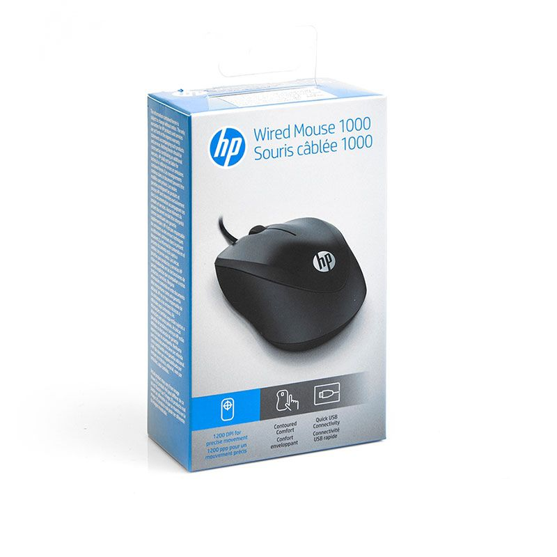 Mouse Óptico HP 1000 USB 4QM14AA Preto