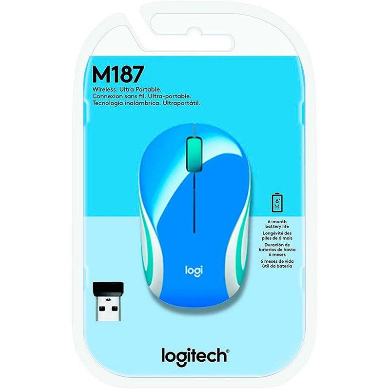 Mouse Sem Fio Mini Logitech M187 1000Dpi Azul