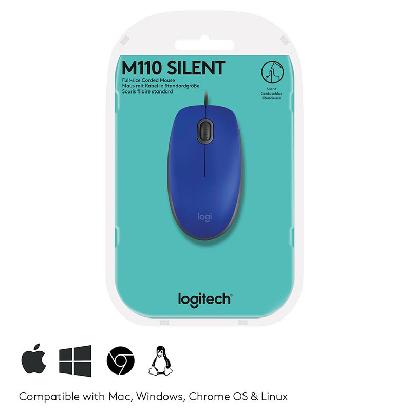 Mouse USB Logitech M110 Silent 1000Dpi Azul
