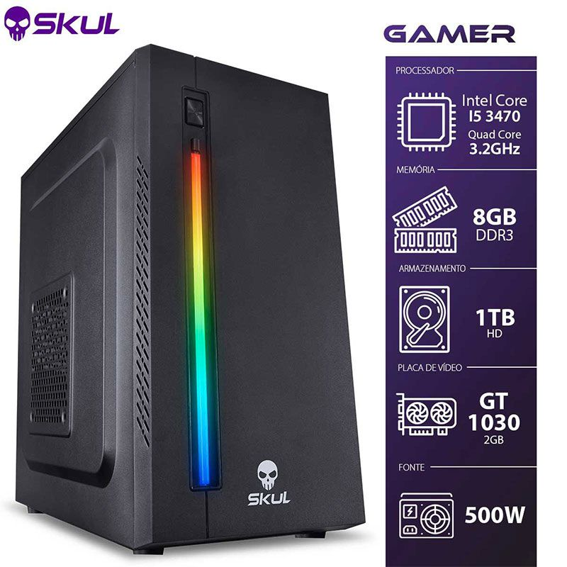 PC Gamer Skul 5000 I5 3ª Ger., 8GB, 1TB, GT 1030 2GB, 500W (Sob encomenda)