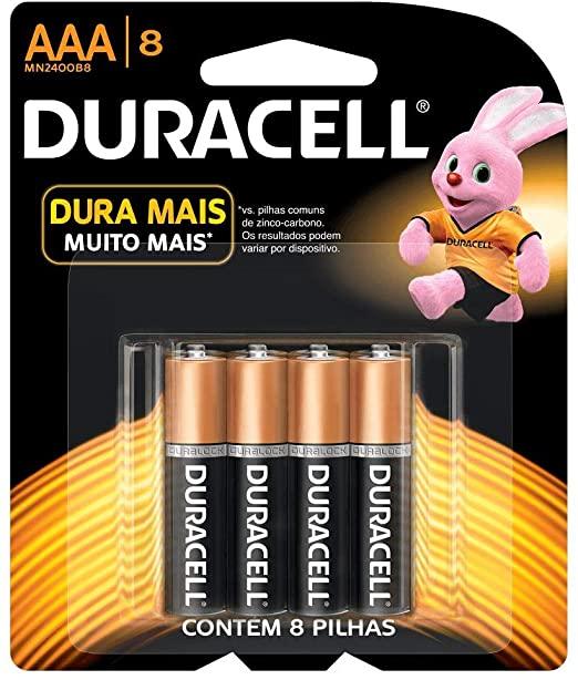 Pilha Alcalina Duracell Duralock AAA com 8 Unidades