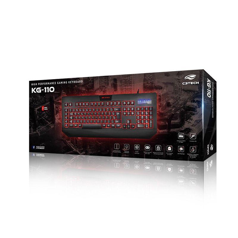 Teclado Gamer C3 Tech KG-110BK com Iluminação Preto