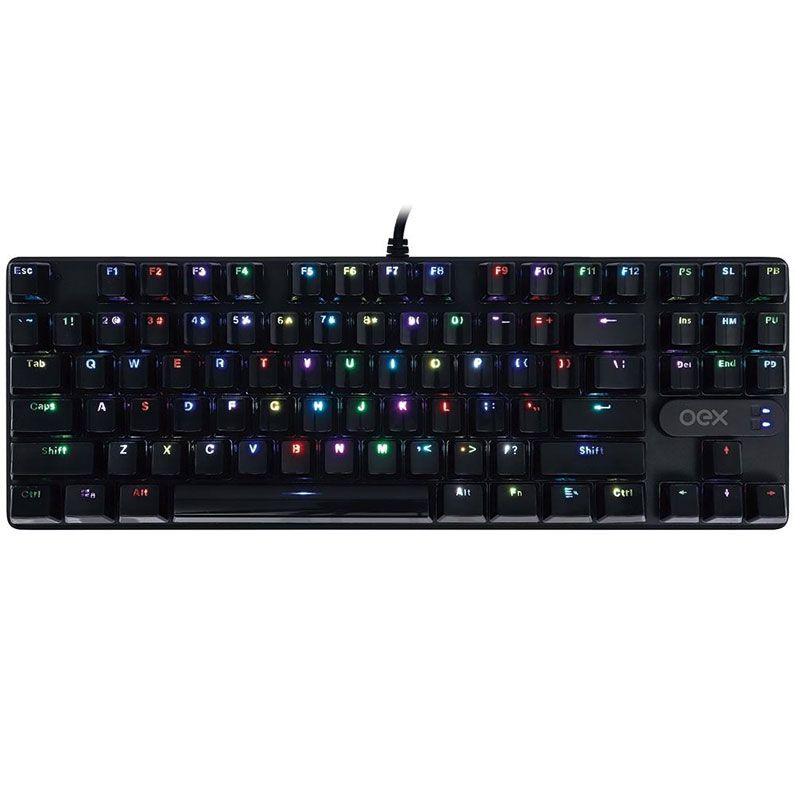 Teclado Gamer OEX Mecânico Phantom TC-700 RGB Preto