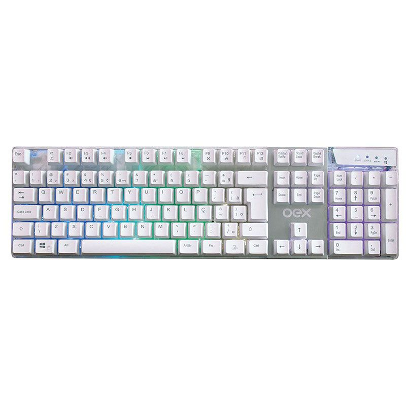 Teclado Gamer OEX Prismatic Semi Mecânico Branco Com LED TC205
