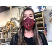 Máscaras de Tecido Estampada  Vermelha Reutilizável