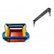 Kit balanço cadeira colorido com cordas + suporte chapa retangular para 100kg