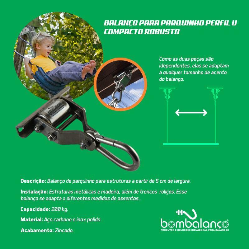 Par de balanço para adultos perfil U compacto robusto - (capacidade 200 kg) - Fique em casa / instale em casa / brinque em casa