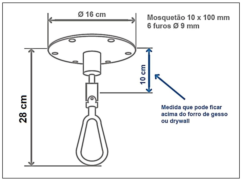 Kit extensor ajustável para teto com forro de gesso - 11 a 15 cm + mosquetão 12x140 cm giratório