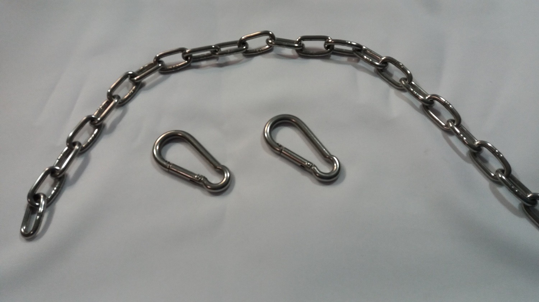 Extensão de corrente ajustável elo longo 4,8 mm - comprimento 1 m (inox polido)