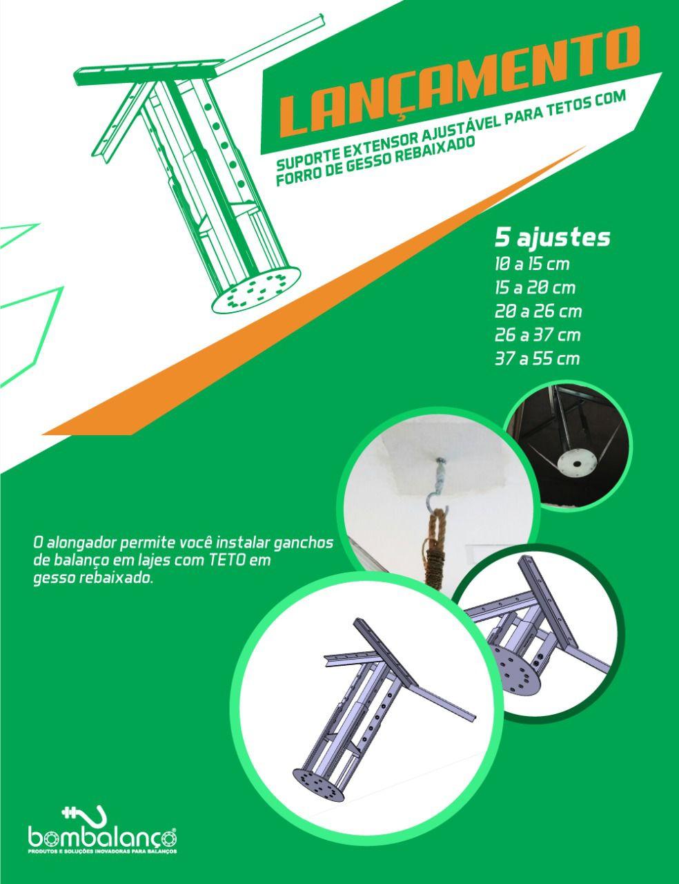 Extensor ajustável para teto com forro de gesso - 15 a 20 cm