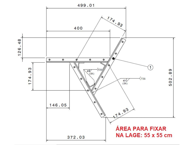 Extensor ajustável para teto com forro de gesso - 26 a 37 cm
