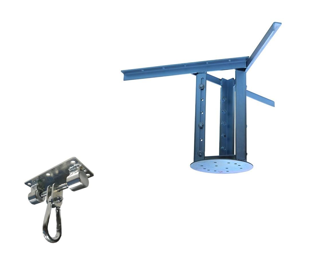 Kit extensor ajustável para teto com forro de gesso - 37 a 60cm + suporte balanço mosquetão chapa retangular