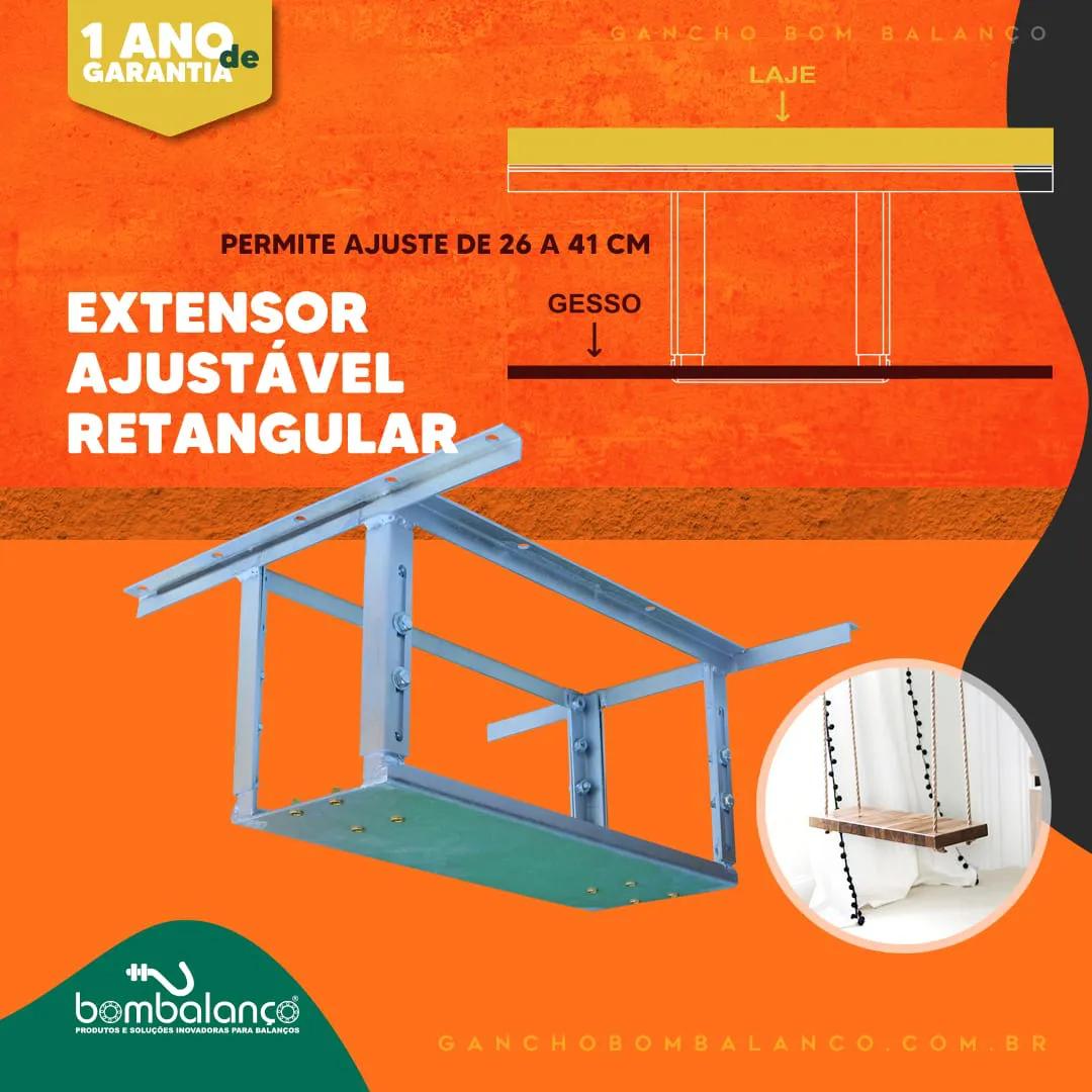 Extensor ajustável retangular para teto com forro de gesso - 28 a 40 cm