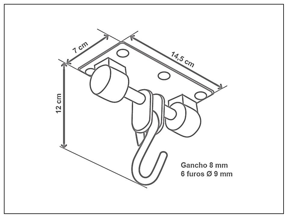 Gancho para cadeira de balanço suspensa Seguro & Silencioso - chapa retangular
