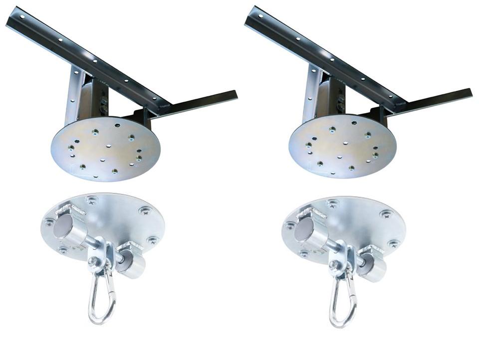 Kit 2 extensores ajustáveis para teto com forro de gesso - 37 a 60 cm + 2 suportes para balanço mosquetão