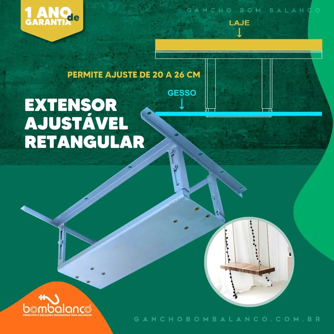Kit Adaptador retangular para lajes nervuradas + extensor 22 a 28 cm - espessura da nervura 10 a 20 cm