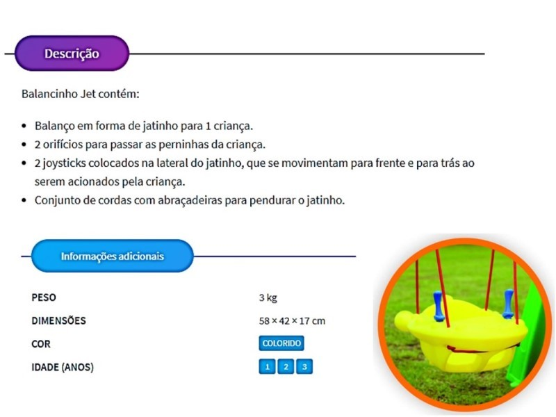 Kit Balancinho Jet  (NAVE ESPACIAL) c/ cordas