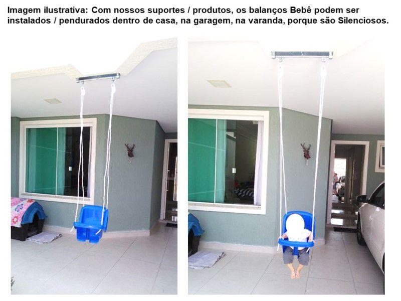 Kit balanço bebê plástico com cordas + suporte chapa retangular para instalar dentro de casa - fique em casa