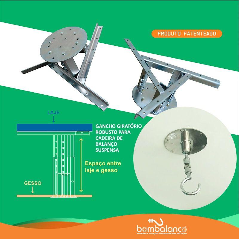 Kit extensor ajustável para teto com forro de gesso - 11 a 15 cm + gancho giratório