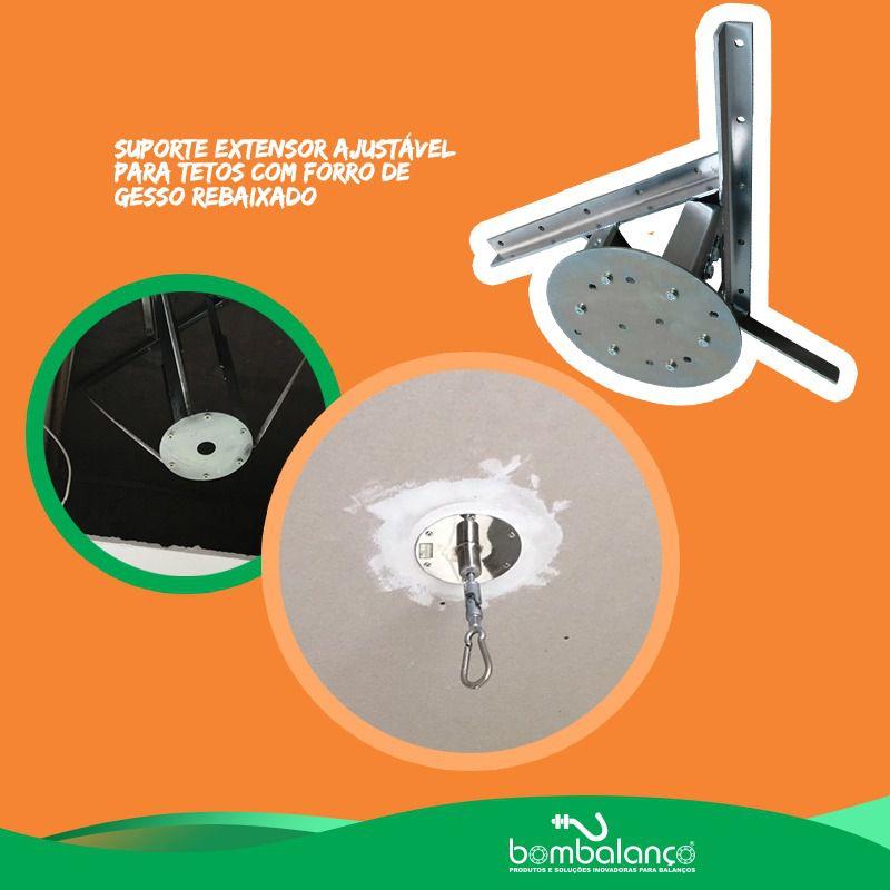 Kit extensor ajustável para teto com forro de gesso - 10 a 15 cm + mosquetão giratório
